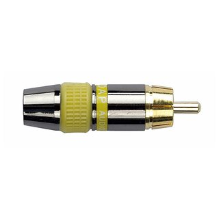 DAP-Audio RCA connector male, Black housing, Yellow endcap