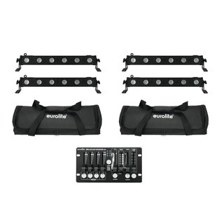Eurolite Set 4x LED BAR-6 QCL RGBW + 2x Soft Bag +...