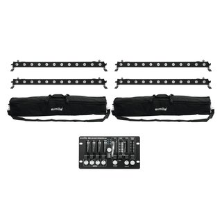 Eurolite Set 4x LED BAR-12 QCL RGBW + 2x Soft Bags +...